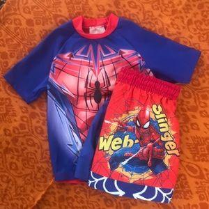 SpiderMan swim set boys size 3/4T Like New